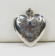 925 Sterling Silver Etched HEART LOCKET PENDANT with CROSS on the Front