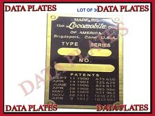 30X Patent And Data Plate Acid Etched Brass For Locomobile 1900 - 1912