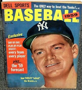 1959 DELL SPORTS BASEBALL MAGAZINE SIGNED BY BOB TURLEY 1958 WORLD SERIES MVP