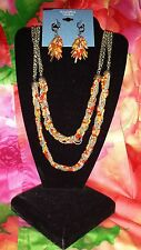 SIMPLY VERA WANG NWT $52 women's necklace earrings set orange coral red silver