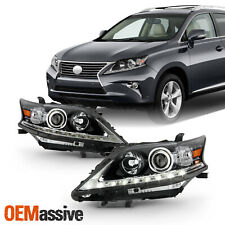 For 13-15 Lexus RX350 RX450h HID Non-AFS Projector Black Headlamp w/LED DRL Pair