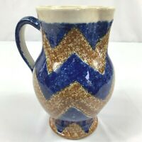 VTG Art Deco Germany Art Pottery Ceramic Pitcher Zig Zag Brown Blue Design 7""