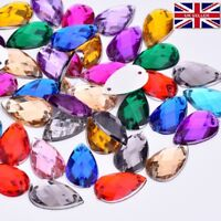 100 Mixed Faceted Beads Rhinestones 8-13mm Tear Drop Flat Back Sew On #15