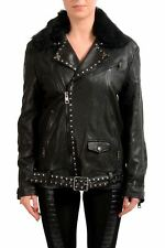 Just Cavalli Women's Leather Jacket With Detachable Lamb Fur Collar US S IT 40