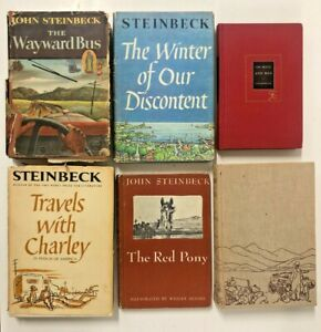 6 John Steinbeck Vintage Hardcovers Grapes of Wrath 1st/8th 1939 Mice and Men