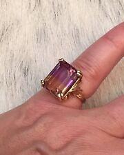 Vintage Ametrine 14Kt Yellow Gold Ring 11 Carats Size 5.75 Amethyst Citrine