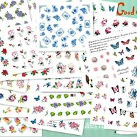50pcs/Sheet Mixed Flower Water Transfer Nail Stickers Decals Art Tips Decoration