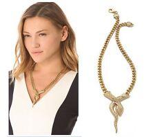 N1013 Forever 21 Crystal Gold Python Naja Cobra Snake King Chain Necklace UK