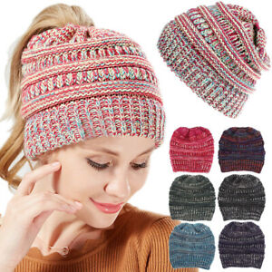 Mixed Color Womens Beanie Ponytail Hats Bun Knitted Cap Skull Winter Sports Hats