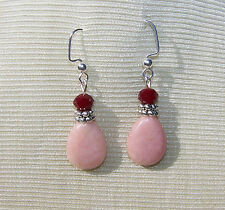 """PINK QUARTZ  STONE  EARRINGS  1 3/4"""" garnet faceted beads handmade"""