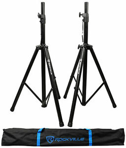 Pair of Rockville Tripod DJ PA Speaker Stands + Carrying Case Black RVSS2