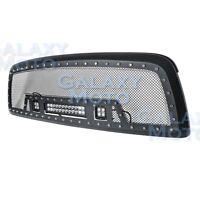 Black SS Mesh Grille+Matte Black Shell+w/ LED Lights for 09-12 Dodge RAM 1500