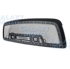 Black SS Mesh Grille+Matte Black Shell+w/ LED Lights for 09-12 Dodge RAM 1500