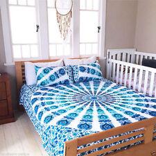 Indian Peacock Mandala King Duvet Quilt Cover Bedding Ethnic Boho Blanket Set