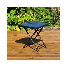 GARDEN PATIO SIDE TABLE FOLDING DRINKS TABLE BLACK GLASS TOP OUTDOOR INDOOR USE