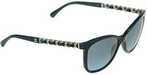 RARE Authentic CHANEL Dark Blue Silver Chain Square Sunglasses 5260-Q  c1237/S2