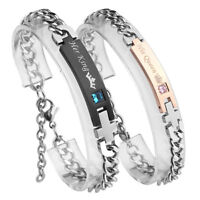 2X Stainless Steel His & Hers Lovers Matching His Queen Her King Couple Bracelet