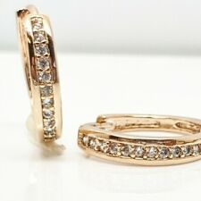 Yellow gold finish  huggie hoop created diamond earrings gift idea free postage