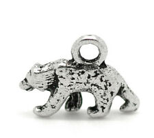 50 Silver Tone Polar Bear Charms Pendants 16x12mm