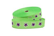 1 m Gurtband in hellgrün mit lila weiß umrahmten Sternen  30 mm