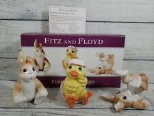 """Easter Decor Fitz & Floyd""""Painting Easter Eggs"""" Tumblers Bunnies /Chick - 2004"""