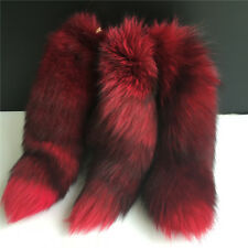 Red/Black 40cm Real Fox Tail Fur Keychain Tassel Handbag Accessory Charm Pendant