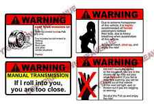 Warning Sticker Pack / Lot of Four JDM Funny Vinyl Decal Stickers (Warning4PK)