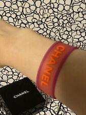 CHANEL CC Clover Vintage Pink & Orange Rubber Bracelet