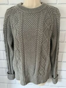 L.L. Bean Signature Med Gray Fisherman Sweater Crew Neck Cable Knit 100% Cotton