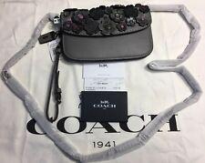 Coach 1941 Tea Rose Appliqué Crossbody/Wristlet Clutch W/Chain Strap 23536 Grey