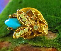 Gold tone  Rhinestone Fly small pin brooch   di