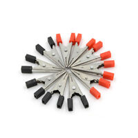 10Pcs Alligator Clips Vehicle Battery Test Lead Clips Probes 32mm Red+Black  Dyu