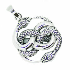 Solid Sterling Silver Ouroboros Serpents Purification Auryn Sigil, Infinity P029