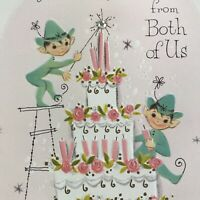 Vintage Mid Century Greeting Card Cute Pixie Elves Lighting Birthday Cake Candle