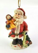 """Santa Claus Christmas Ornament w/ Candy Tree Doll made of Resin 3"""" Tall"""