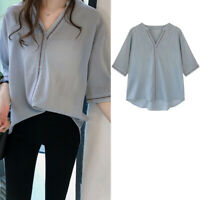 Women Solid Blouse V Neck Shirts Short Sleeve Tops Loose Office Shirt Casual TSK
