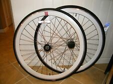 "(2) 26"" TOTO CYCLING WHEEL, WHITE MSW, FRONT & REAR, QUANDO HUB, KENDA TIRE"