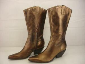 Women's 8 B M bcbGIRLS bcbg Metallic Bronze Leather Cowboy Boots Western Zipper