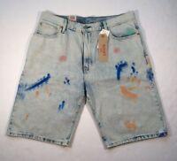 Levis Levi's 569 Loose Straight Paint Brushed Artist Denim Shorts Jeans Pants