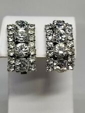Fabulous Large Rhinestone 1950s Prong Set Vintage Earrings