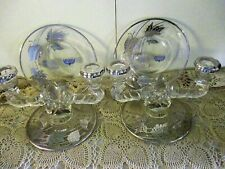 Vintage Candle Holders Crystal W/ Sterling Silver Overlay Holiday Home Decor