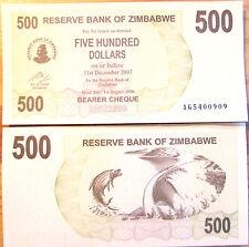 """BILLETE """"  ZIMBABWE    500  DOLARES   AÑO  2007    PLANCHA    UNC"""
