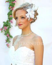 Haarschmuck mit Satinbändern Blüten Hochzeit Braut  Farbwahl weiss ivory creme