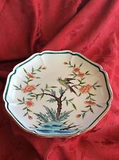 Antique Chinese HandPainted Cherry Tree Scalloped PLATE ~ Parrot ~ Teal & Yellow