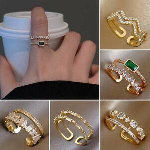 925 Sliver Crystal Zircon Finger Ring Gold Open Knuckle Ring Adjustable Women
