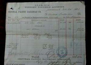 1871 CENTRAL PACIFIC RAILROAD FREIGHT VOUCHER RECEIPT