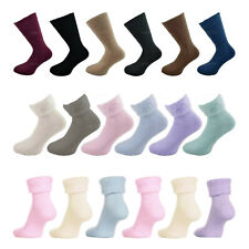 Mens Womens Thermal Brushed Bed Socks Ladies Lounge Slipper Fluffy Soft 4-8 6-11