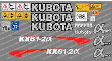 KUBOTA KX61-2A MINI DIGGER COMPLETE DECAL SET WITH SAFETY WARNING SIGNS