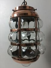 Antique Arts & Crafts Copper Hall Light Porch Lantern Caged Blown Glass Pendant
