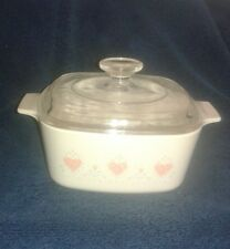 """Corning Ware Corelle """"Forever Yours"""" A 1 1/2 B Covered Casserole With Lid A 7 C"""